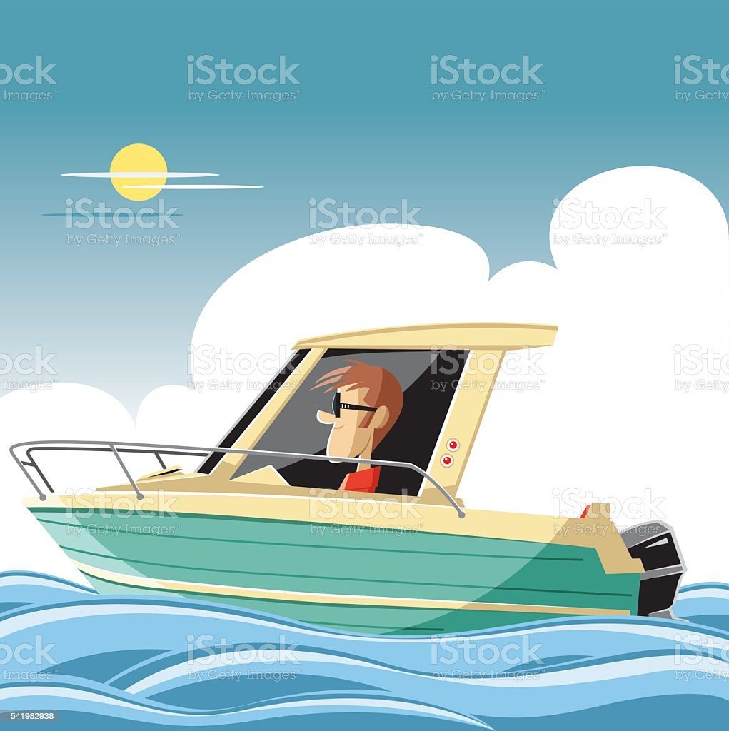 Vector boat and man vector art illustration
