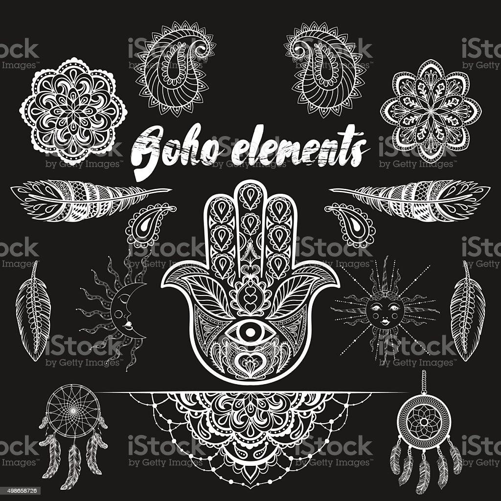 Vector bohemian ornamental elements, ethnic makhenda,  hand draw vector art illustration