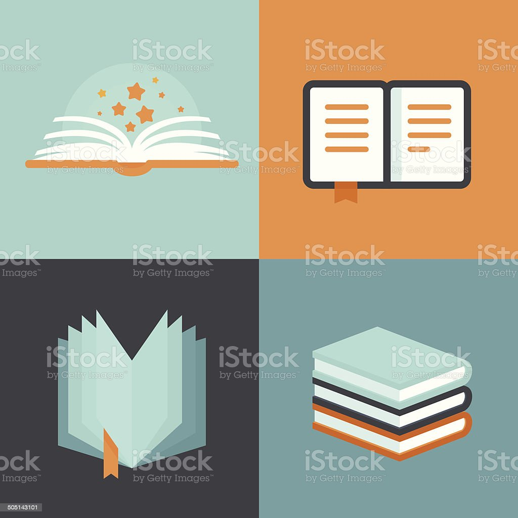 Vector book signs and symbols - education concepts vector art illustration