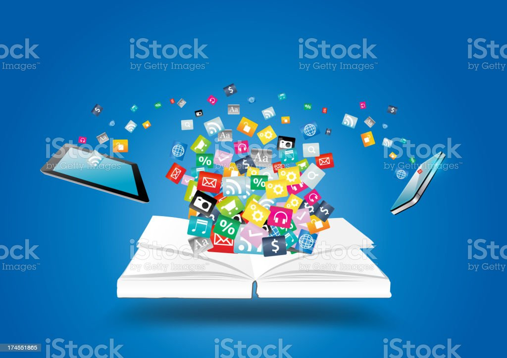 Vector book with mobile phones and tablet computer PC vector art illustration