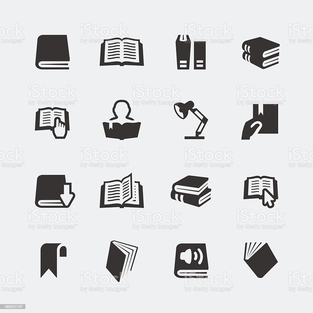 Vector books and reading mini icons set vector art illustration