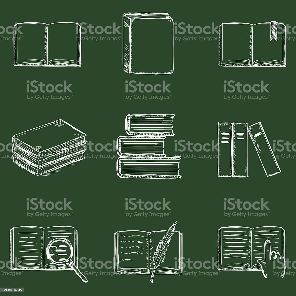 Vector Books Icons vector art illustration