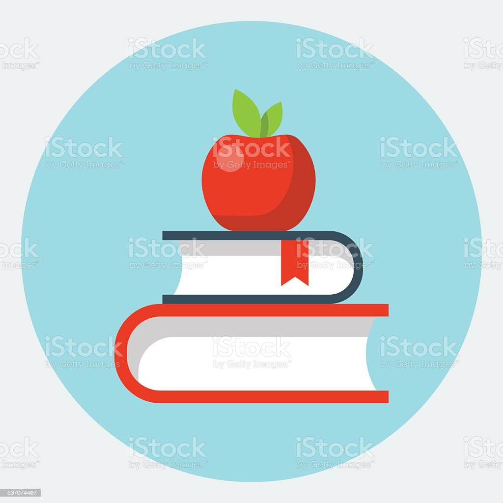 Vector books with apple flat icon vector art illustration