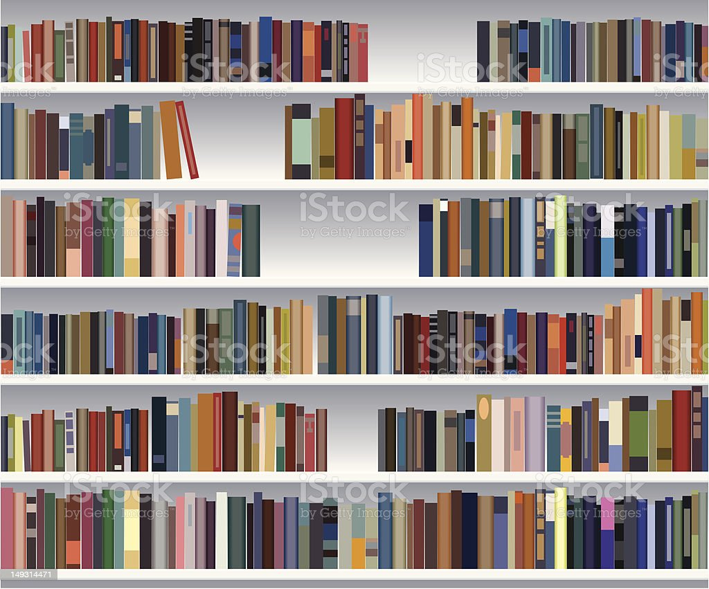 Vector bookshelf with colorful books vector art illustration