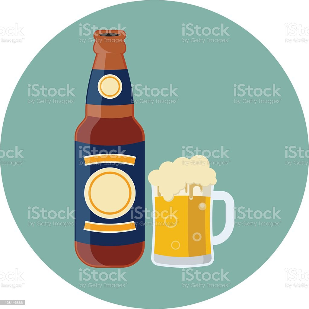 Vector Bottle and Glass with beer vector art illustration