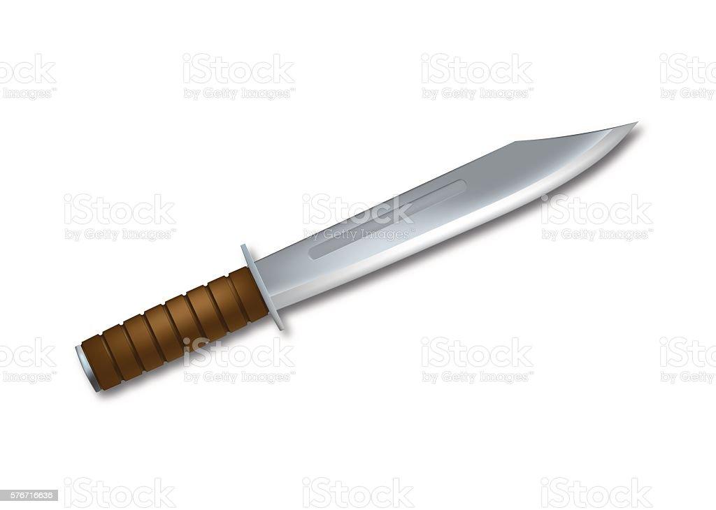 Vector Bowie knife vector art illustration