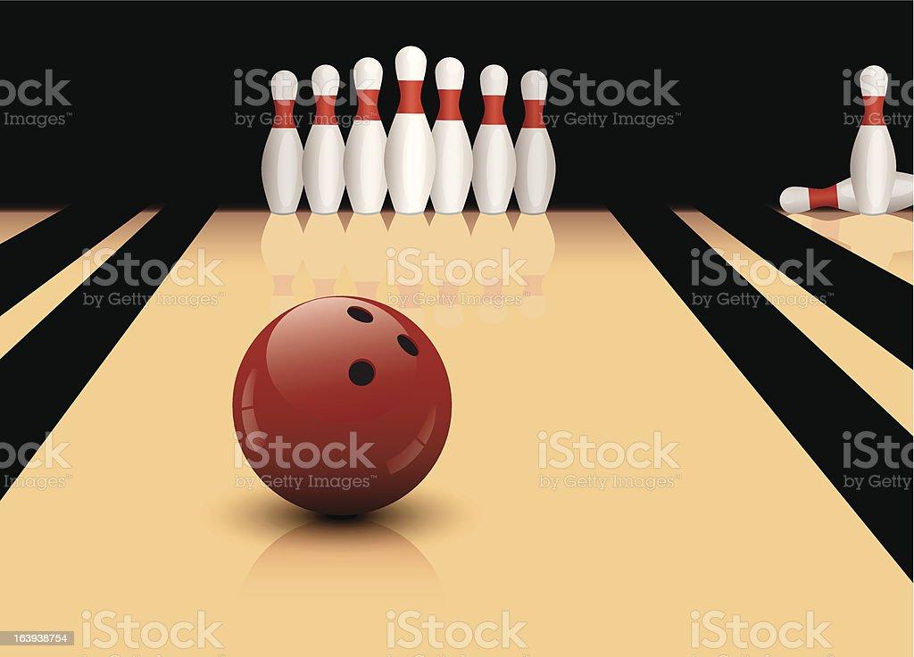 vector bowling ball and pins royalty-free stock vector art