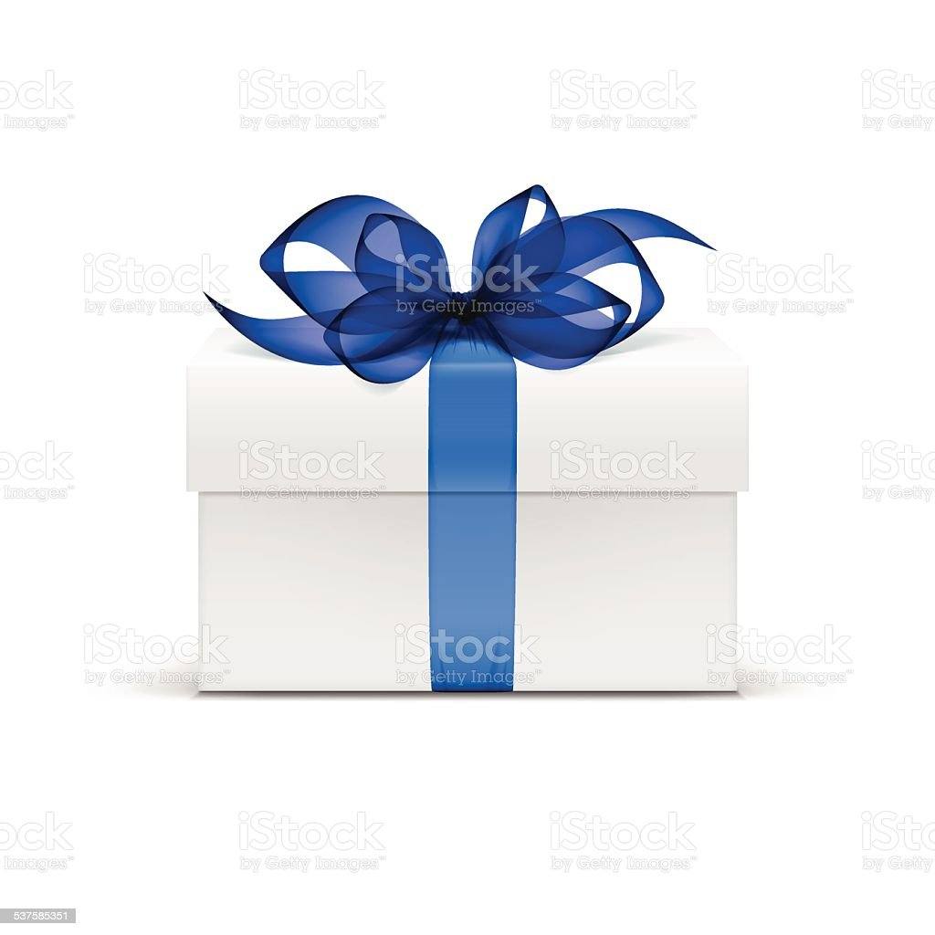 Vector  Box with Blue Ribbon and Bow Isolated on Background vector art illustration