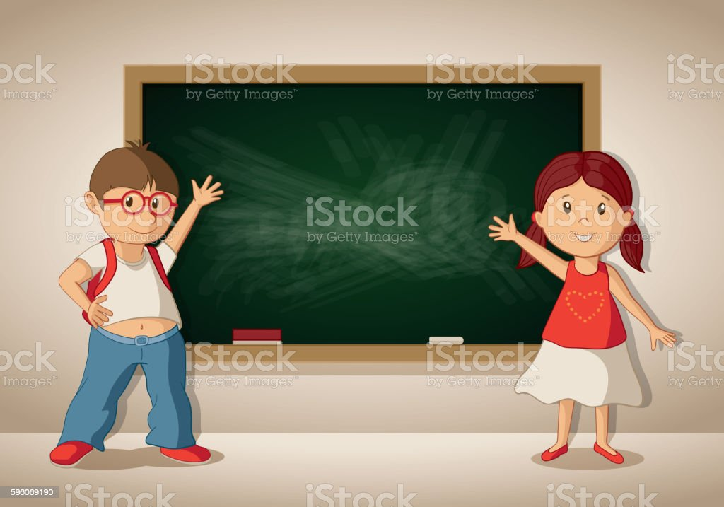 Vector boy and girl at the blackboard in the classroom. vector art illustration
