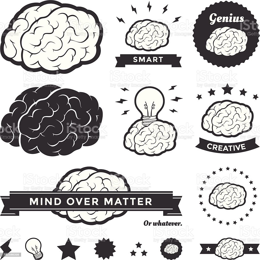 Vector Brain Badges and Label Collection royalty-free stock vector art