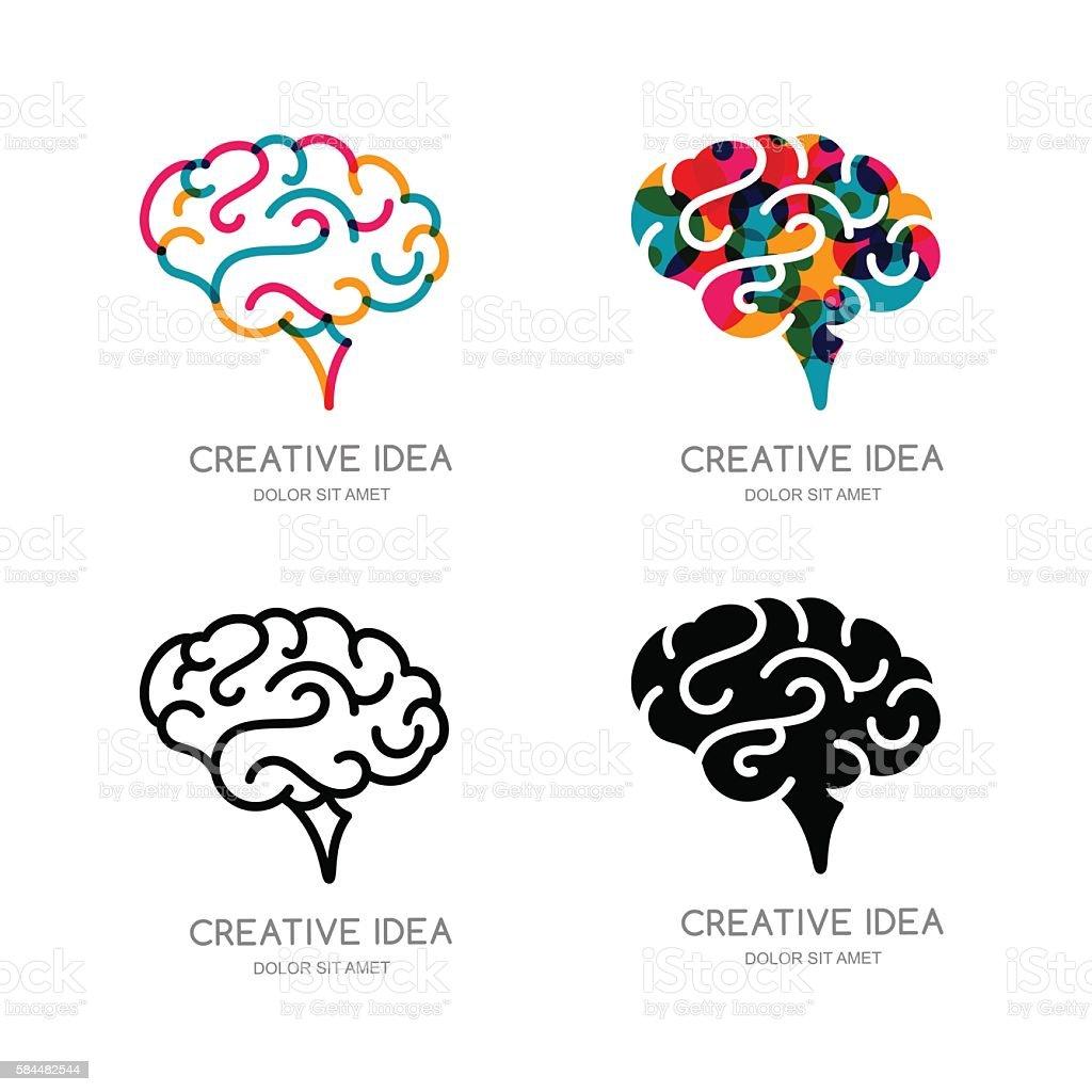 vector brain sign or emblem design elements outline human