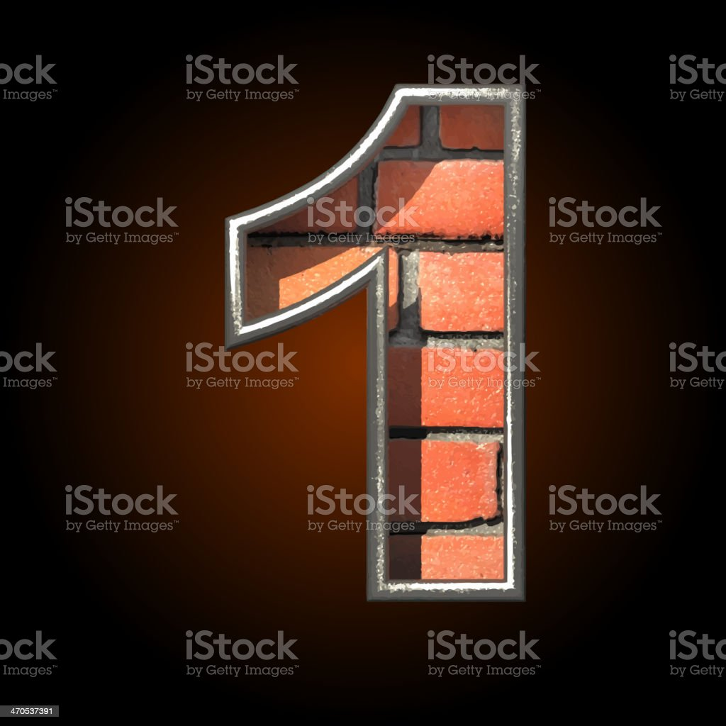 Vector brick cutted figure 1 royalty-free stock vector art