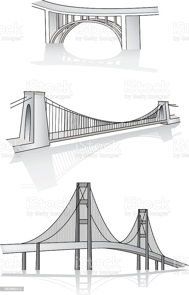 Vector bridge 3d illustration vector art illustration