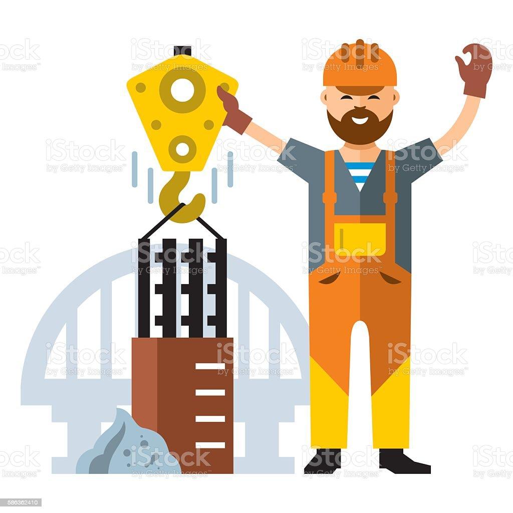 Vector Bridge construction. Flat style colorful Cartoon illustration. vector art illustration