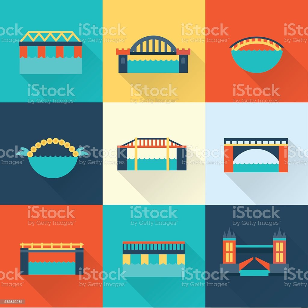 Vector bridge flat icon vector art illustration
