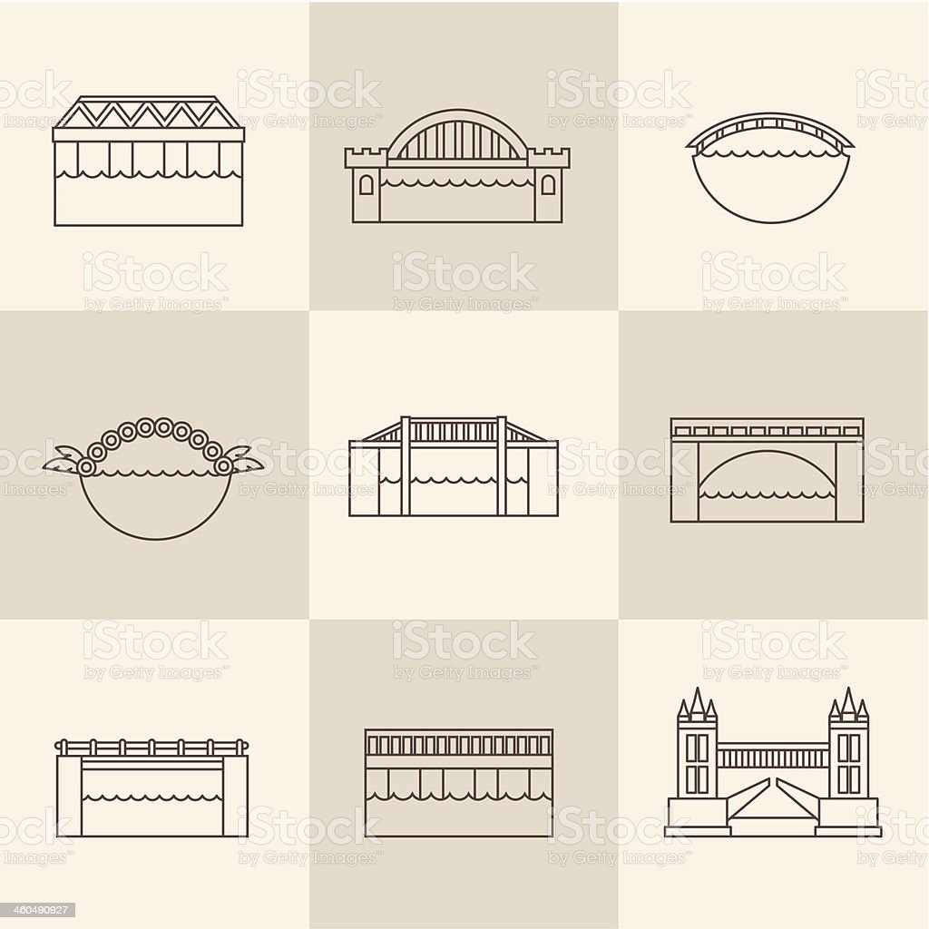 Vector bridge icon vector art illustration