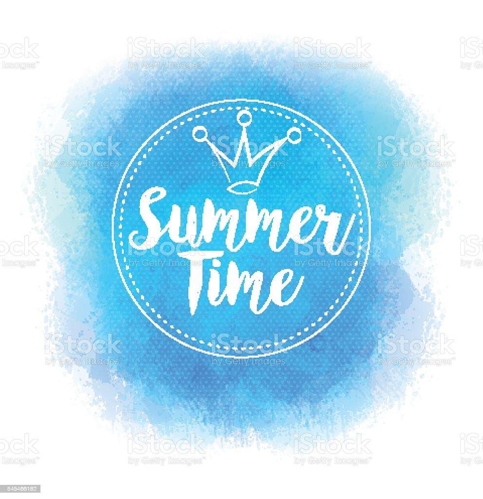 Vector bright blue stain for summer design. Pseudo watercolor. vector art illustration