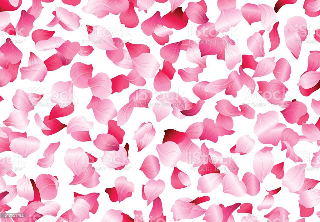Vector bright petals fall down. vector art illustration