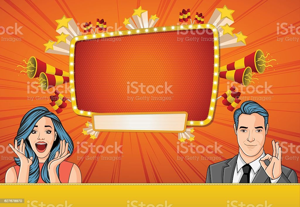 Vector brochure backgrounds with retro people. vector art illustration