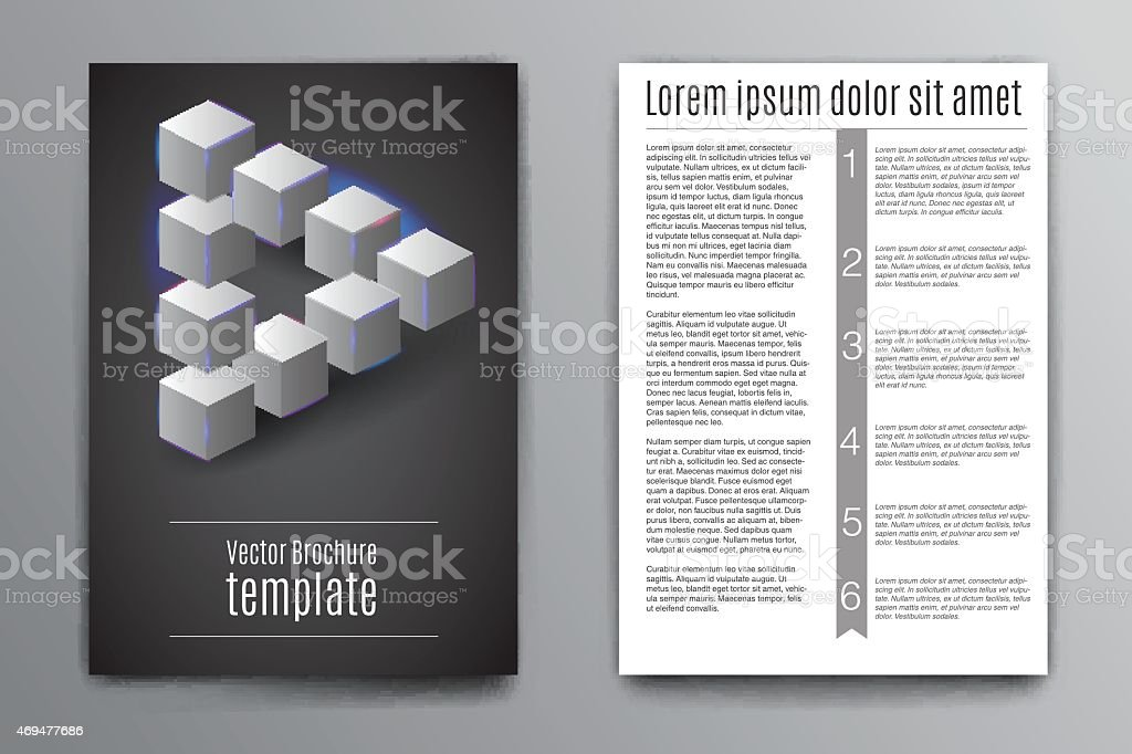 Vector brochure design template, Impossible triangle vector art illustration