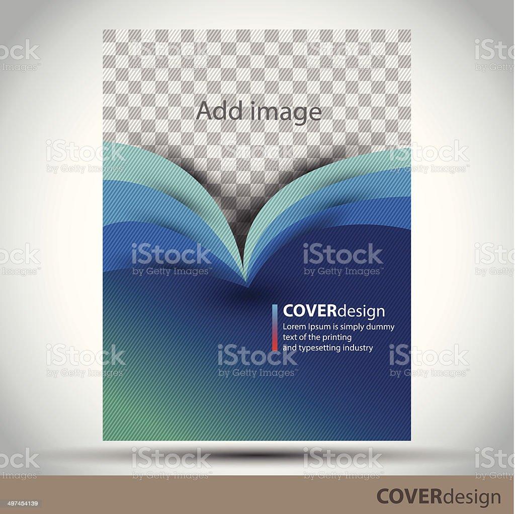 Vector brochure, flyer, cover design template with blue background vector art illustration
