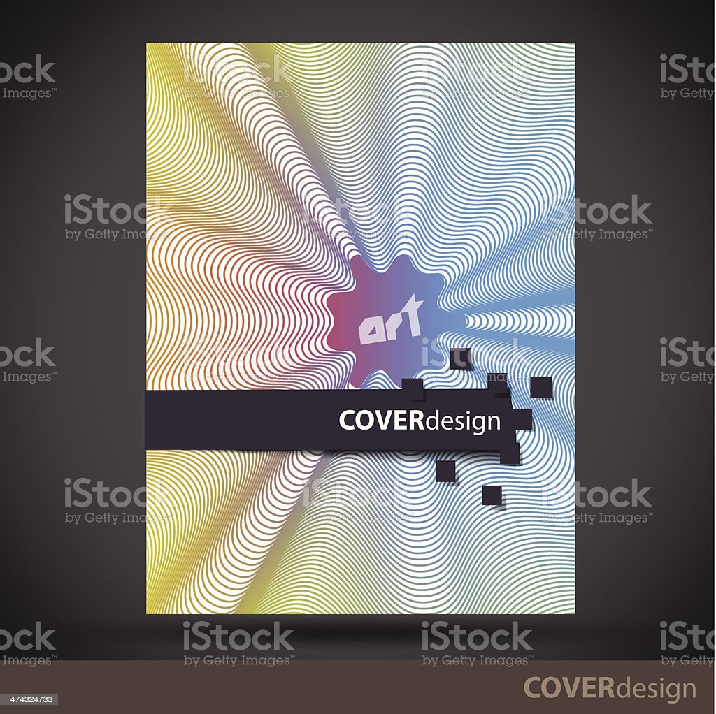 Vector brochure, flyer, cover design template with colorful lines royalty-free stock vector art