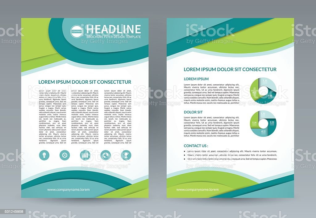 Vector brochure flyer design template. A4 size vector art illustration