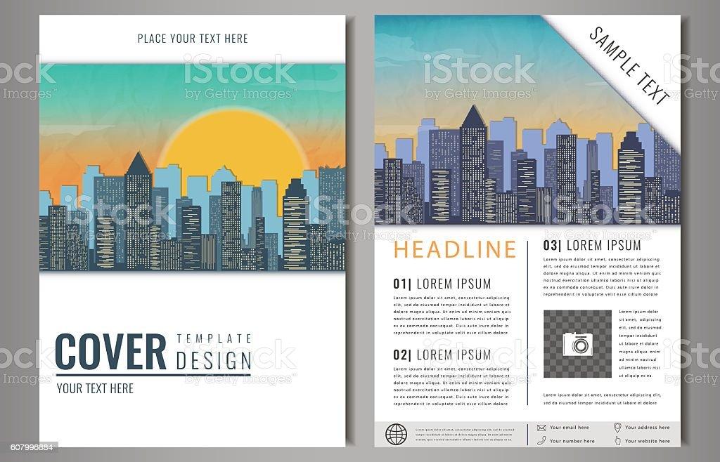 Vector Brochure Flyer design with city landscape. royalty-free stock vector art