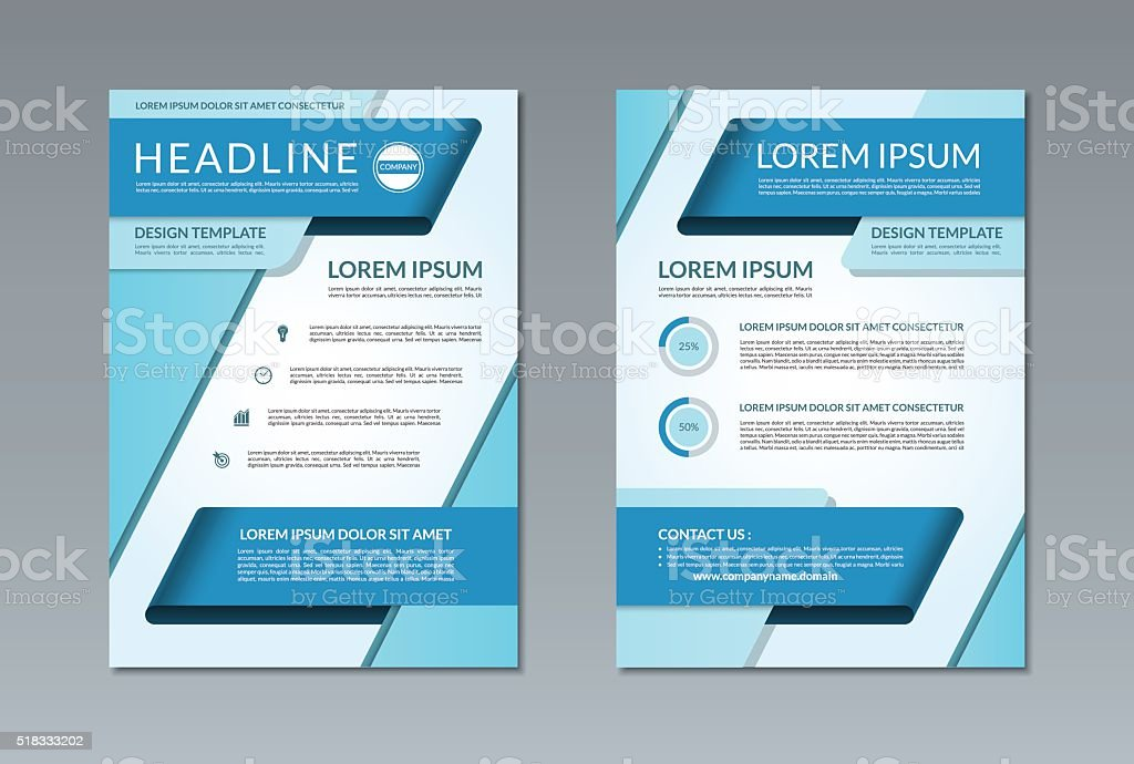 Vector brochure flyer template. A4 size. Front and back page vector art illustration