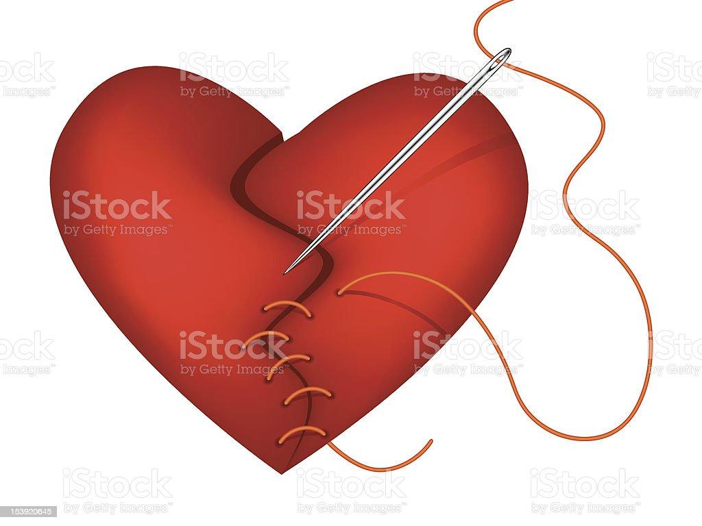 Vector broken heart being mended vector art illustration