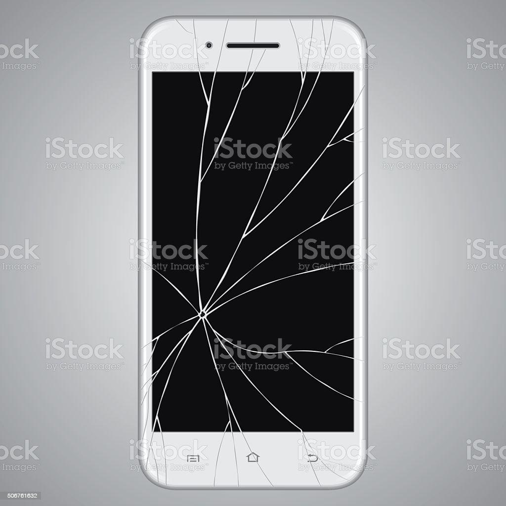 Vector broken Smart phone vector art illustration