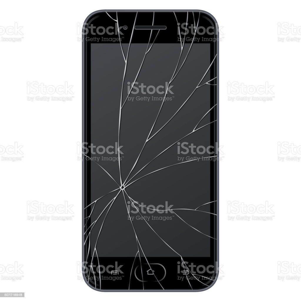 Vector broken Smart phone vector art illustration