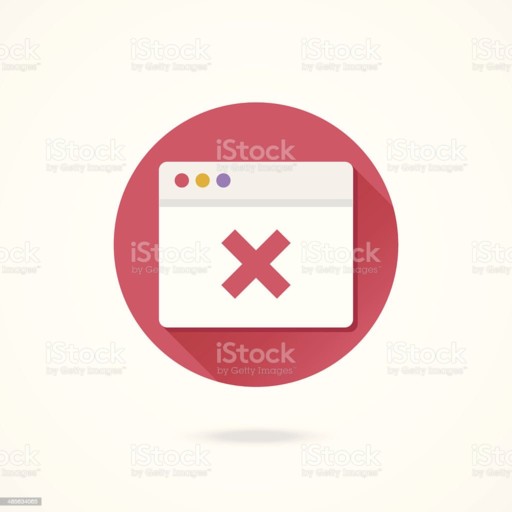 Vector Browser and X Mark Icon vector art illustration