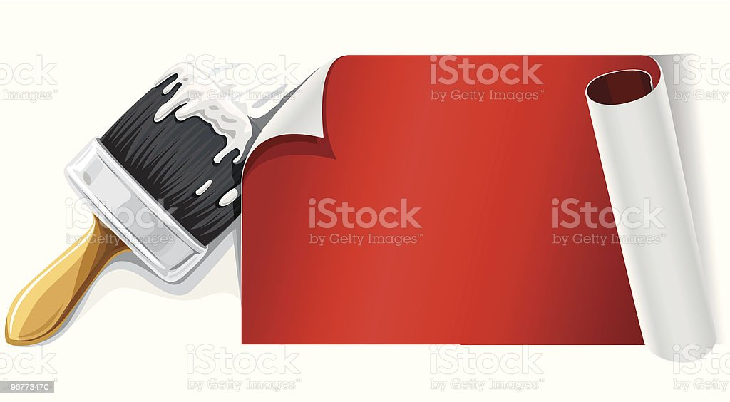 vector brush with glue and red paper isolsted royalty-free stock vector art