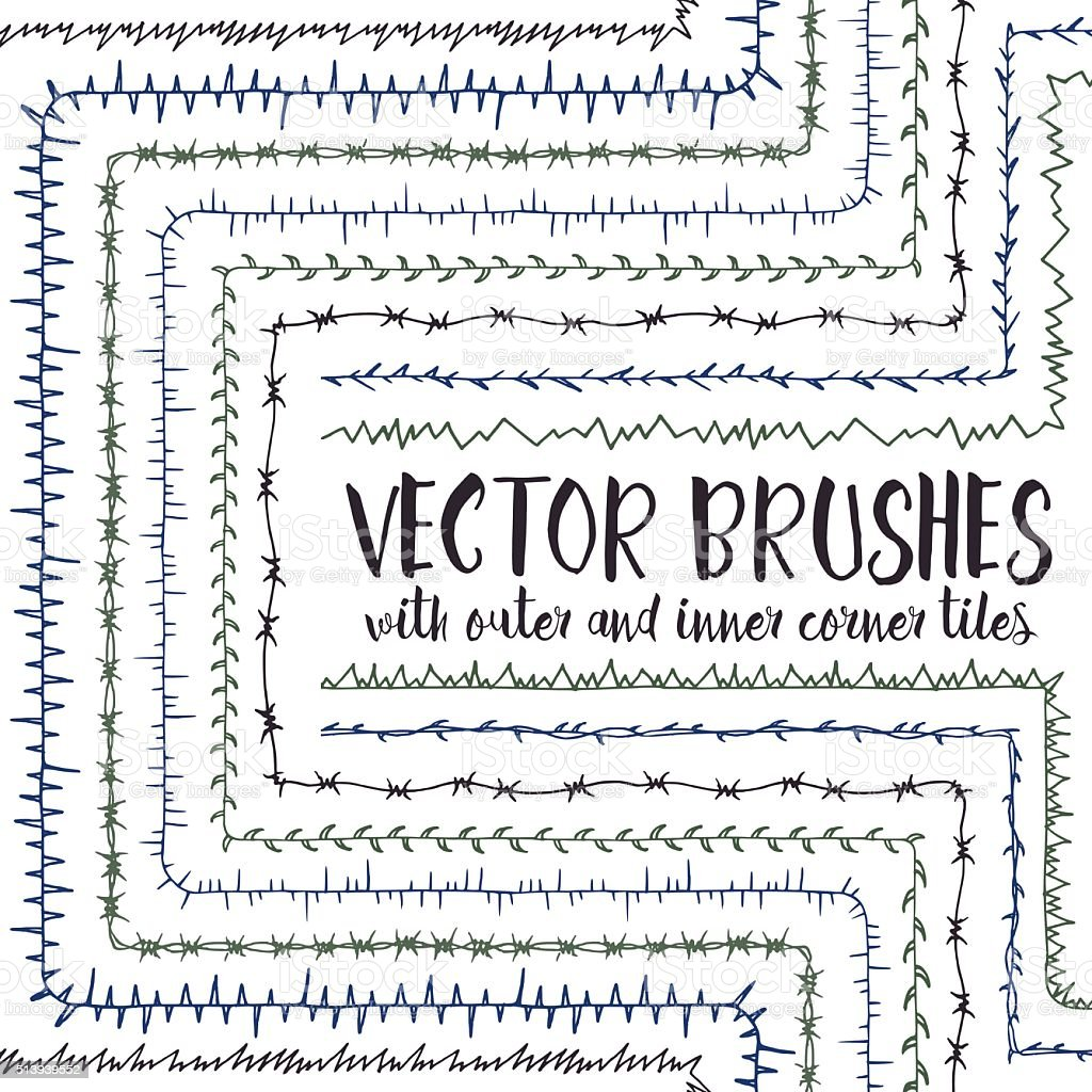 Vector brushes with inner and outer corner tiles. vector art illustration