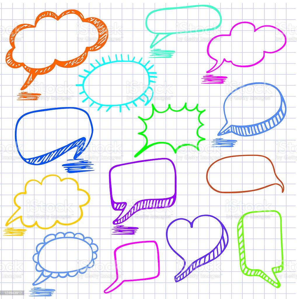 Vector bubbles for speech. Seamless doodle background. vector art illustration