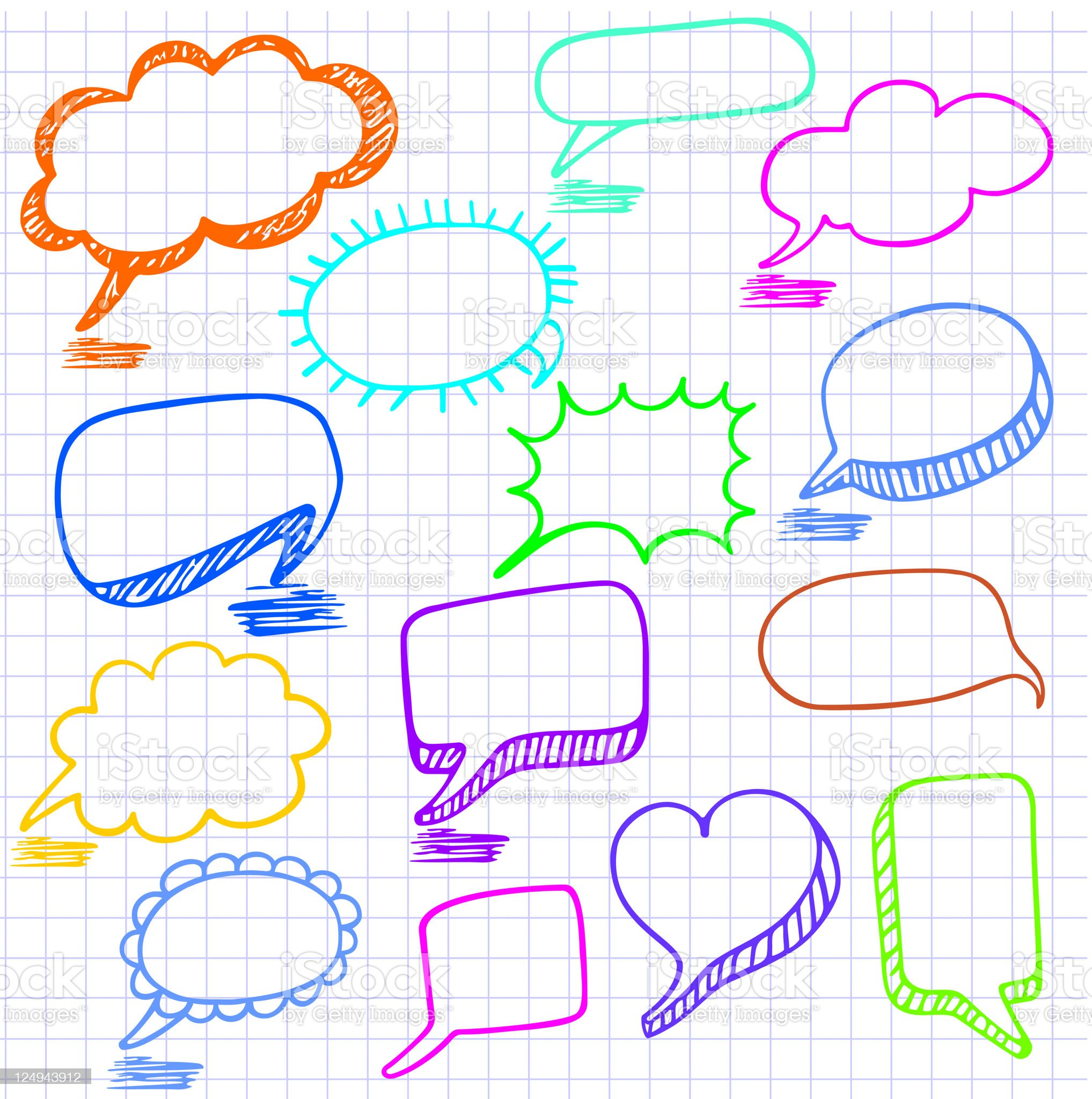Vector bubbles for speech. Seamless doodle background. royalty-free stock vector art