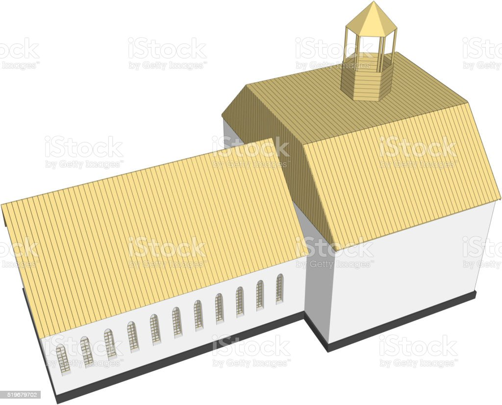 Vector building 3d Church  on white background vector art illustration