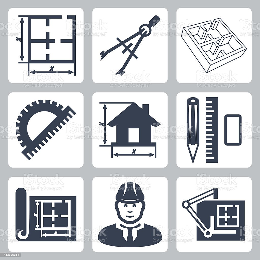 Vector building design icons set vector art illustration