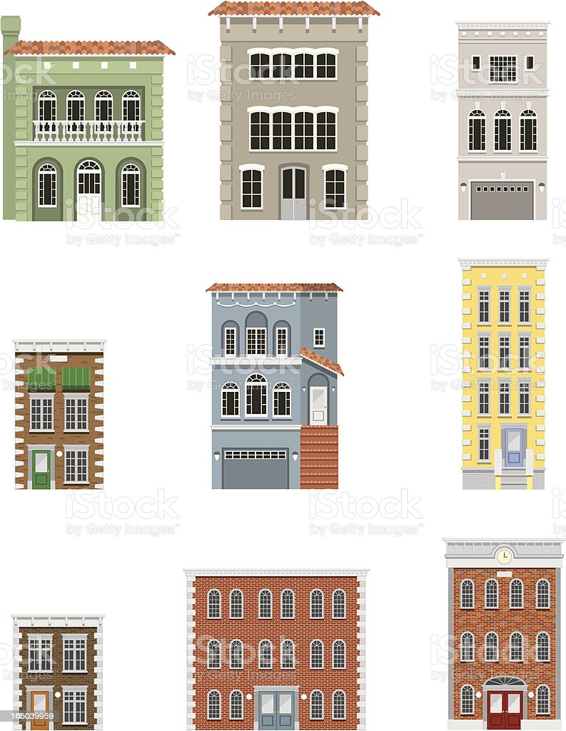 Vector Building Fronts vector art illustration