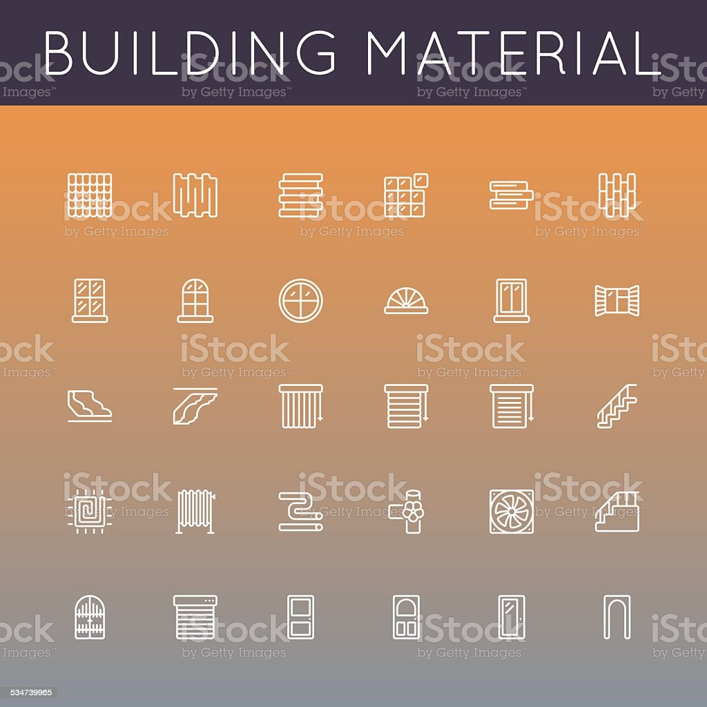 Vector Building Material Line Icons vector art illustration