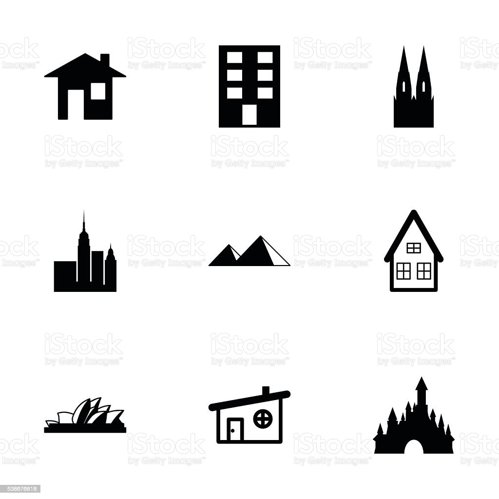 Vector buildings icons set vector art illustration