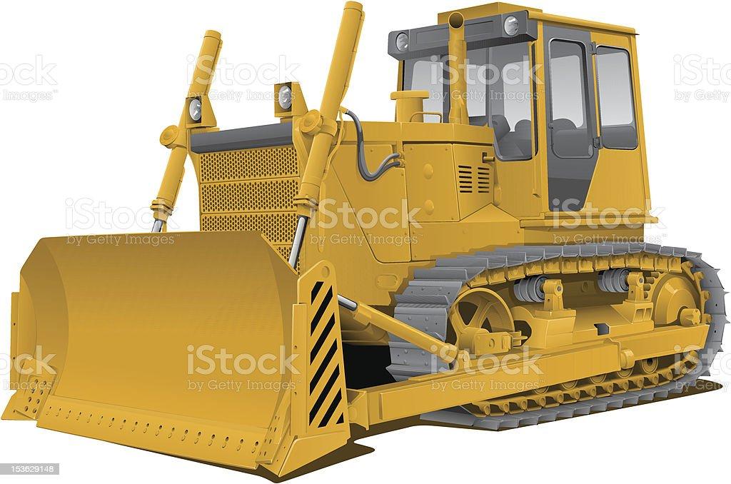 vector bulldozer vector art illustration