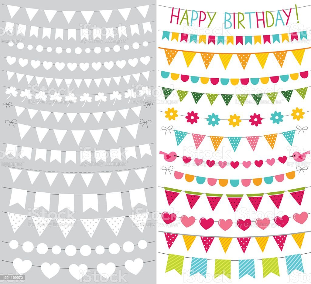 Vector bunting flags set vector art illustration