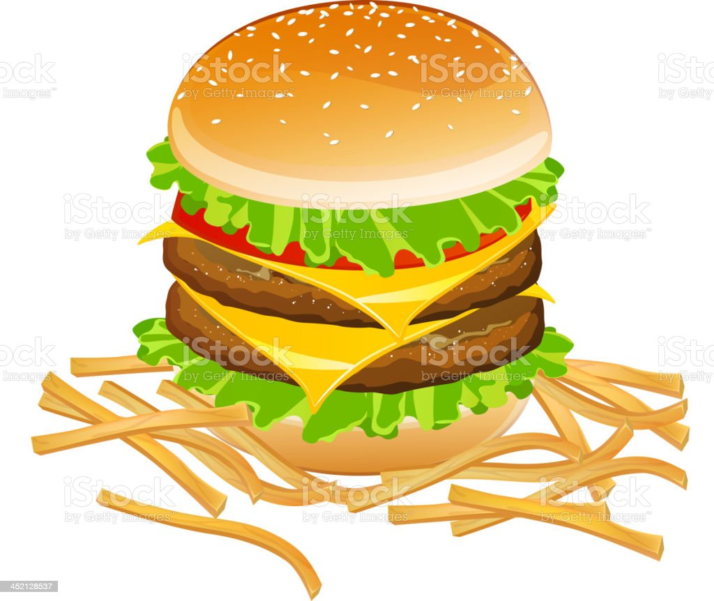 Vector Burger and French Fries royalty-free stock vector art