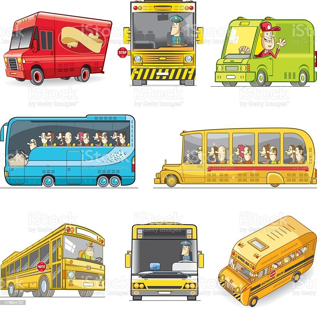 vector bus set vector art illustration