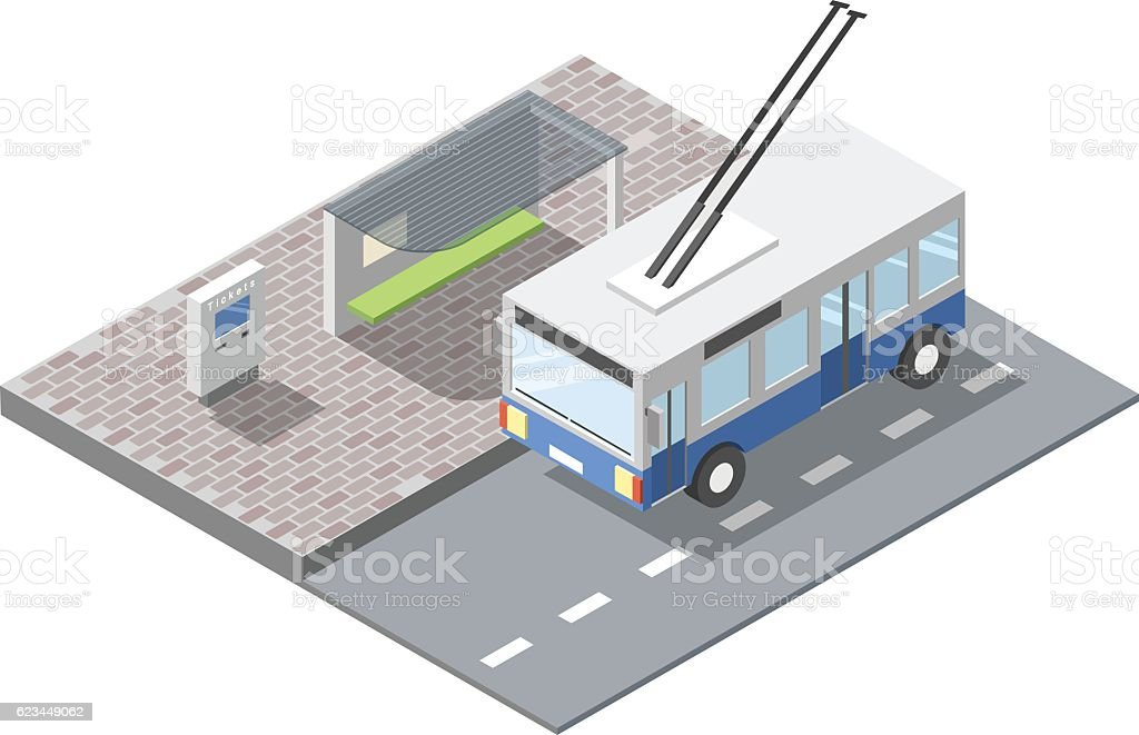 Vector bus station with ticket sell terminal, blue trolleybus vector art illustration