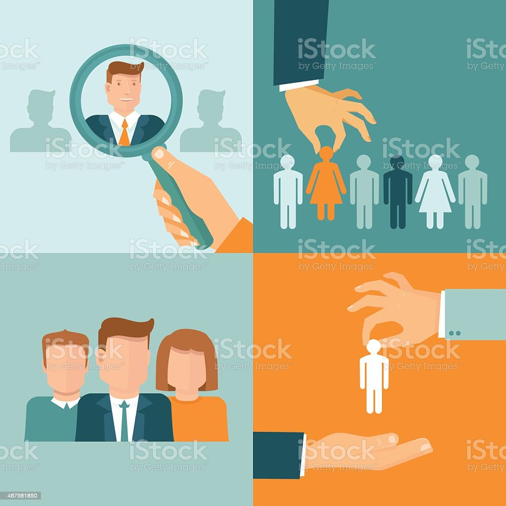 Vector business and employment concepts in flat style vector art illustration