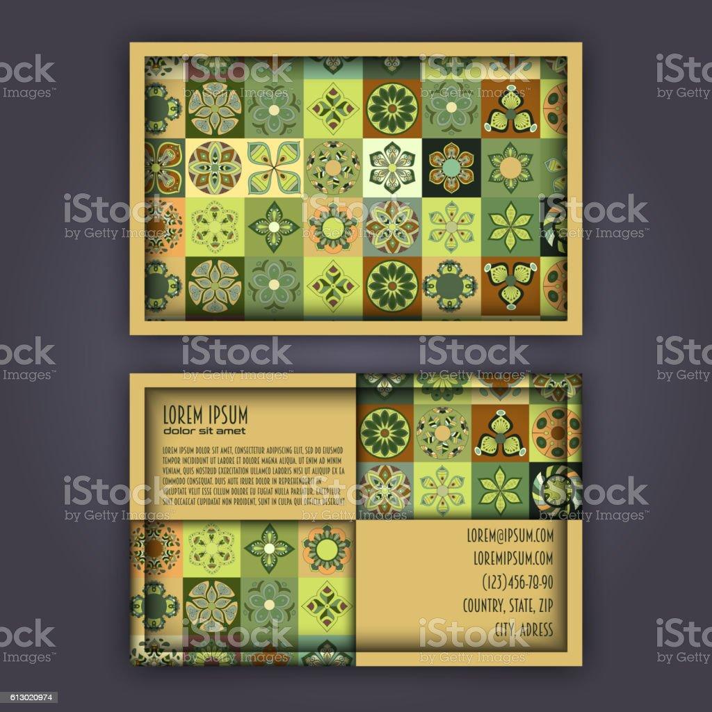 Vector Business card Design Template with Ornamental geometric mandala pattern. vector art illustration