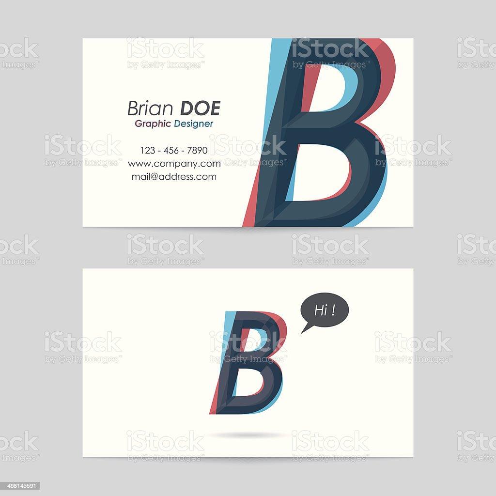 vector business card template - letter b vector art illustration